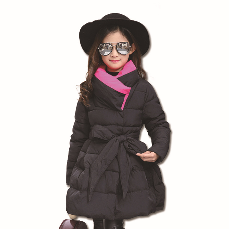 Girl Winter Coat 2017 Fashion Thicken Cotton Padding By Hand Kids Jacket Children Bowknot Long Sleeve Warm Cotton-padded Clothes children winter coats jacket baby boys warm outerwear thickening outdoors kids snow proof coat parkas cotton padded clothes