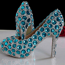 2016 Beautiful Lady High Heel Luxurious Party Prom Shoes Fashion Blue Wedding Shoes for woman Rhinestone Bridal Dress Shoes
