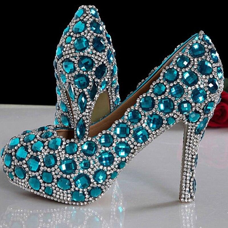 Prom Señora Azul Heels Blue 14cm blue Lujo Chispeante De Boda 6cm Novia 12cm Zapatos Para Rhinestone 8cm Heels 9cm Partido Mujer 2018 qtv7xw4x