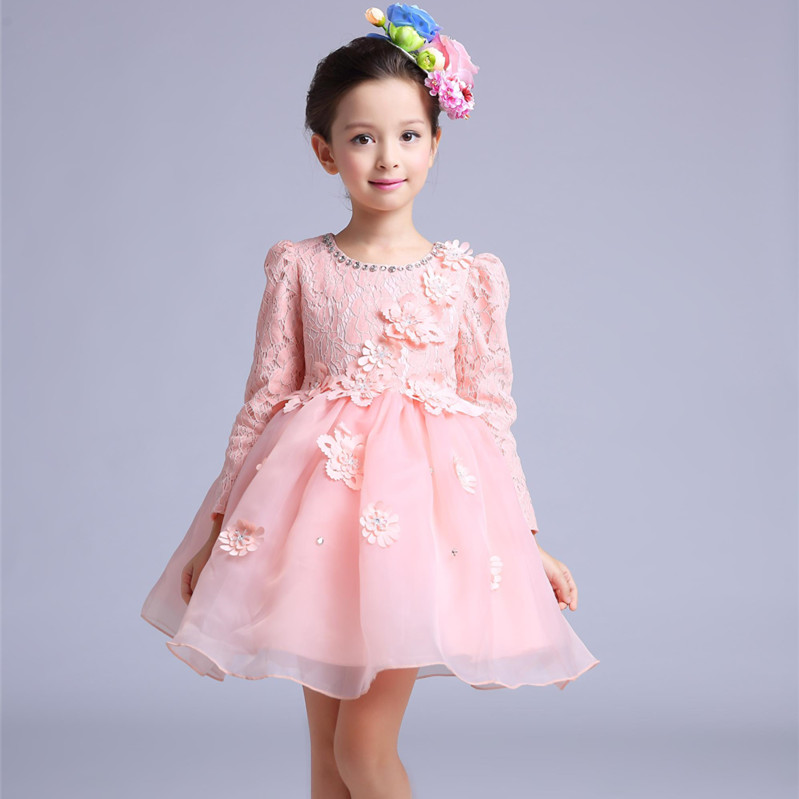 Long Sleeve Flower Girl Dresses Lace Tulle Girl Birthday Party Princess Dresses Knee-Length Autumn Mother Daughter Dresses