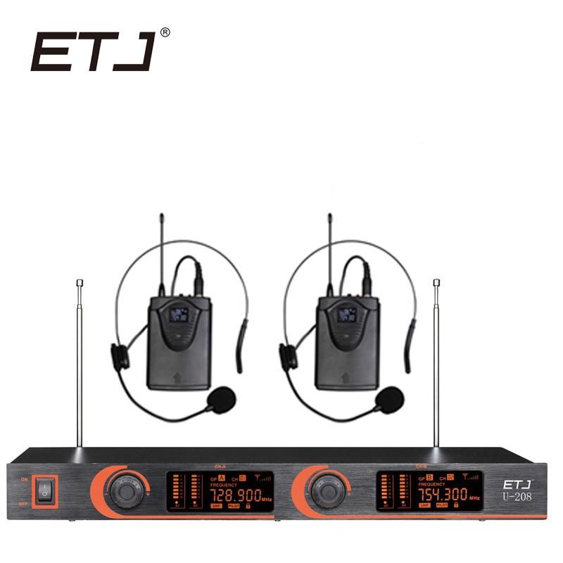 все цены на ETJ Brand Professional VHF Wireless Microphone Changable Handheld Bodypack Headset Lavalier Microphone U-208