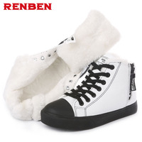 Plus size 35 44 New 2018 Snow Boots platform women winter shoes waterproof ankle boots lace up fur boots white black black white