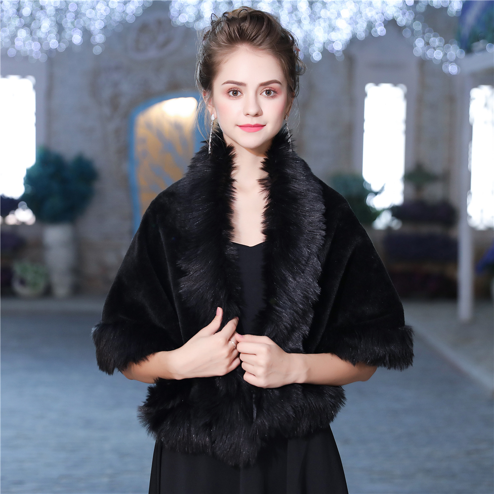 Black Faux Fur Wrap Women Evening Dress Cover Up Shawl Fashion Hamdade Shrug Fur Stole Wedding Jacket Accessories