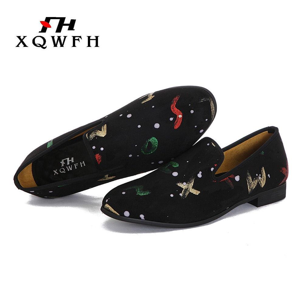 Ayakk.'ten Erkek Rahat Ayakkabılar'de XQWFH erkek İngilizce harfler baskı loafer'lar erkekler rahat ayakkabılar düşük anahtar ziyafet ve düğün ayakkabı'da  Grup 1