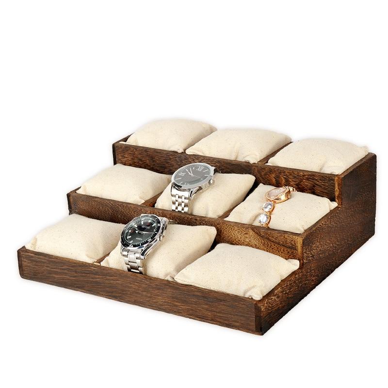 Твердой древесины Винтаж часы браслет Дисплей лоток ювелирные изделия Дисплей лоток