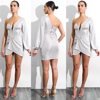Autumn Hot One Side Long Sleeve Deep V Neck Irregular Party Dress Grey Sexy Package Hip
