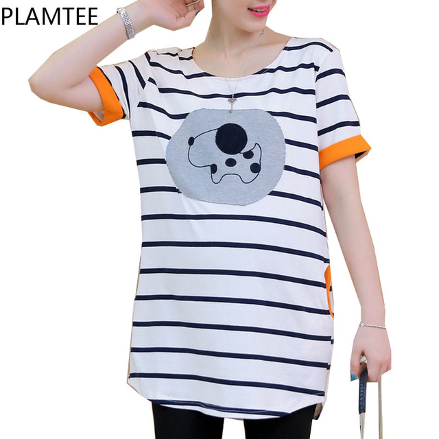 Summer Striped T-Shirts For Pregnant Women Short Sleeve T Shirt 2017 Fashion Printed Maternity Clothes Pregnancy Long Tops M~XL