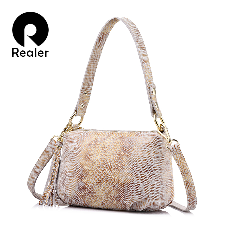 REALER brand crossbody bags for women genuine leather shoulder bag female gold python pattern leather handbag with tassel realer brand women shoulder bag with
