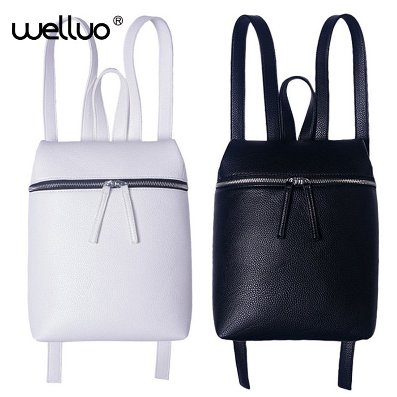Simple Style Designer Women Backpack White and Black Lady Travel PU Leather Backpacks Fashion Female Rucksack