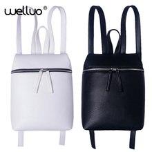 Простой Стиль дизайнерские женские рюкзак белый и черный Леди Путешествия PU кожаные рюкзаки мода женский рюкзак сумка Mochila XA867B