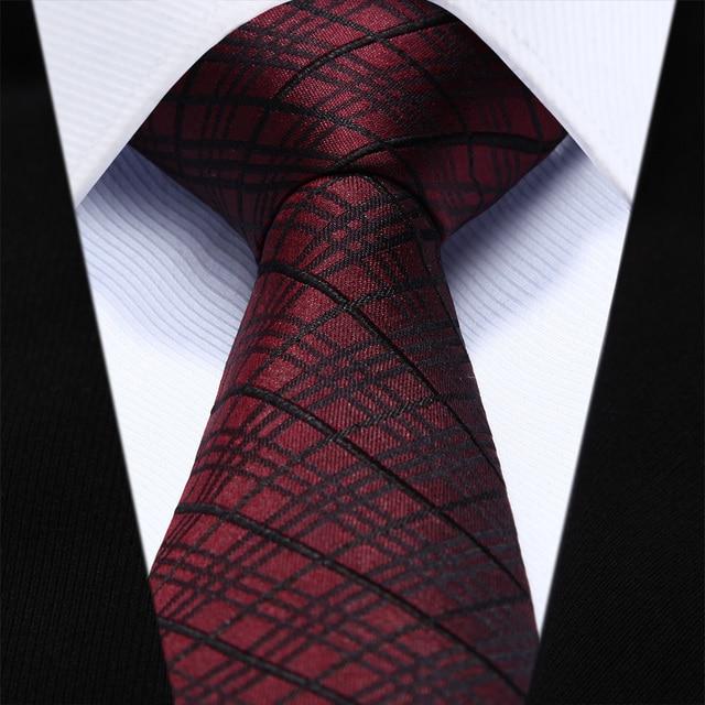 "TZC05U6 Burgundy Black Check Slim Narrow 2.6"" 100% Natural Silk Men Tie Necktie"