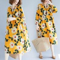 2018 Plus Size Long Sleeve Print Loose Women Dress Cotton And Linen Yellow High Waist Dress Women Print Dresses Women