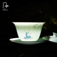 จีนหม้ออบสีขาวพอร์ซเลนชุดน้ำชาG Aiwanชาชามหม้อชาhandpaintedถ้วยชากังฟูพระภิกษุสงฆ์เล็กๆน้อยๆโกล