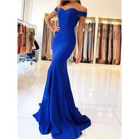 Royal Blue Satin Mermaid Prom Dress Long Off the Shoulder Plus Size Women Evening Dresses Modest Simple Special Event Gowns