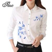 TLZC New Style Lady White Shirts Formal Work Blouse Size S 3XL Korean Women Printed Shirts