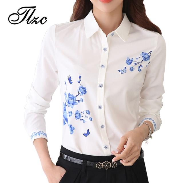 Tlzc novo estilo white lady camisas de trabalho formal blusa tamanho S-3XL Coreano Mulheres Impresso Camisas Chiffon Blusa Slim Fit Senhora camisas