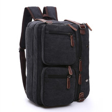 Business Backpack for Men vintage leather canvas backpack school bag men's travel bags large capacity travel laptop backpack bag недорого
