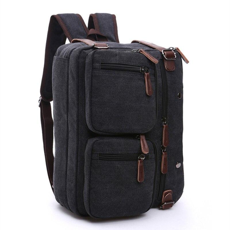 цена на men's business backpack vintage leather canvas backpack school bag men's travel bags large capacity travel laptop backpack bag