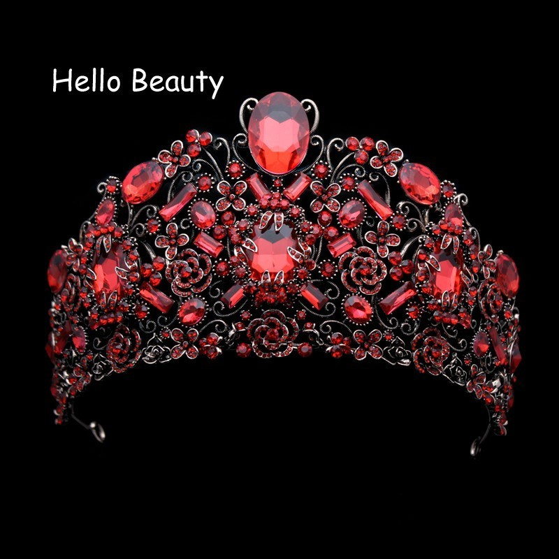 European Luxury Wedding Hair Accessories Vintage Large Queen Diadem Red Rhinestone Baroque Crown Crystal Bridal Tiaras For Bride