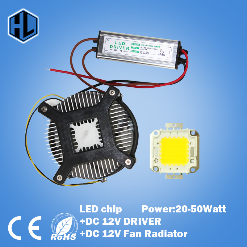 20W 30W 50W 70W  BLUE GREEN WHITE RED High Power LED chip LED Bulb +POWER SUPPLY DRIVER DC 12V INPUT+DC12V Cooling fan Radiator 90w led driver dc40v 2 7a high power led driver for flood light street light ip65 constant current drive power supply