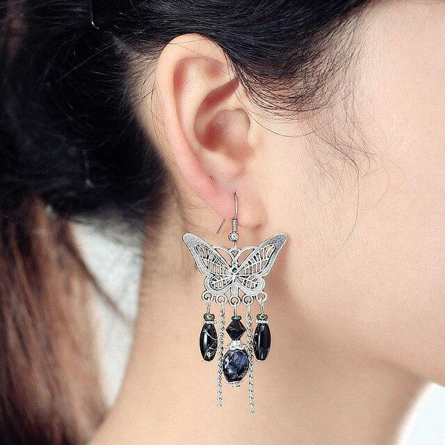Vintage Earrings Antique Silver Plated Erfly Shape Dangle Bohemian Style Beadwork Chandelier For Women