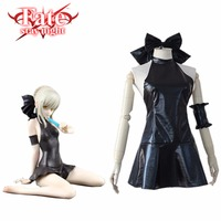Sabre Noir Serré Robe Costume Fate Stay Night Anime Japonais cosplay Costume Avec Ornement De Cheveux Manchette Bowknots Maillot de Bain