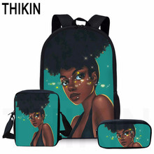 THIKIN 3 PCS/SET Shiny Black Art Africa Kids School Bag for Child Casual Book Backpack Student Pen Pencil Custom Mochila