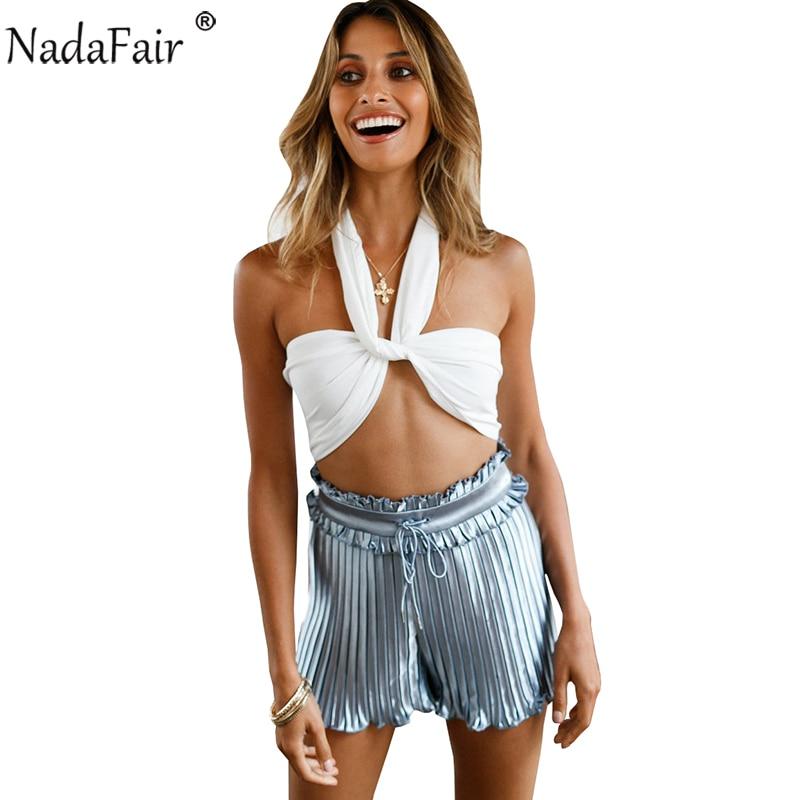 Nadafair Halter Knot Backless Crop Tops 2018 New Fashion Sexy Criss Cross Camis Shirt