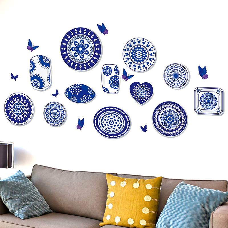 Shijuehezi blue and white porcelain porcelain 3d wall sticker vinyl material material diy