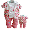 2015 New  baby clothing set girl coat+t shirt+pants 3pcs in 1 suit retai Winter Autumn Warml kids clothing