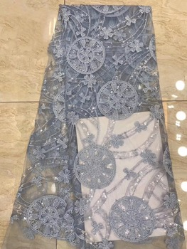 5yards african lace fabric with beads design embroidery tulle lace fabric newest french net lace fabric for dress  DPMA1314