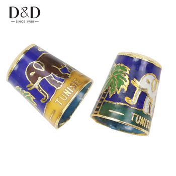 D&D 1pc Antique Style Metal Sewing Thimble Cloisonne Technology Finger Protector Household Sewing Tools Nice Collection nagara