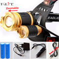 3 LED CREE XM-L T6 Headlight 10000 Lumens  Zoomable LED Headlamp Head Lighting lights Flashlight +2x 18650 Battery +Car Charger