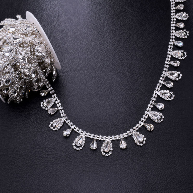 DIY 5Yards Tassel Waterdrop Strass Rhinestones Trim Sewing Craft Bridal  Dress belt Decoration Silver plated Rhinestone appliques-in Rhinestones  from Home ... d353d1cf95b9