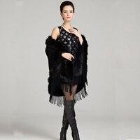 Mulheres faux capa de pele de raposa mulheres inverno senhora Wraps imitação Cashmere Pashmina xale capa