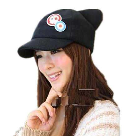 spot movie cat ears hat plush peaked font baseball black ear cap ebay