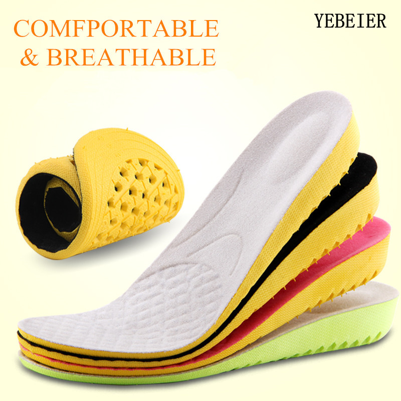 Hot Sale 1 Pair Height Increase Insole  foot care pads for foot pain relie Men Women Sports Shoes Pad Cushion Inserts for Unisex honeycomb structure unisex 2 layer height increased shoe insole pads deep pink pair