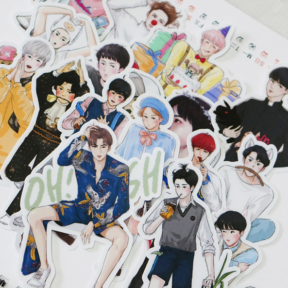 40pcspcs Creative Cute Self-made Exo Q Version Pretty Boys Scrapbooking Stickers /Decorative Sticker /DIY Craft Photo Albums