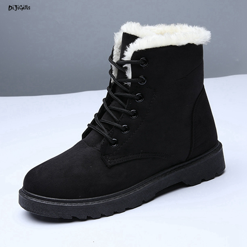 Women Fashion Fur Ankle Boots Lace Up Plus Size Flats Casual Shoes Snow Martin Boots for Winter zq05