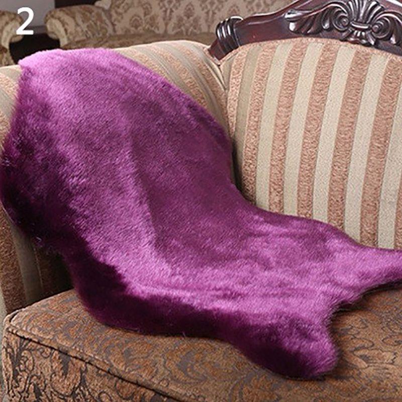 Soft Home Carpet Sheepskin Chair Cover Rugs Artificial Wool Plain Fluffy Rugs Bedroom Blanket Mat For Kids Living Room Tapete
