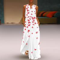 Printed White Maxi Dress Women Beach Summer Dress 2019 Plus Size Sleeveless Ladies Long Dresses Cotton Boho Dress