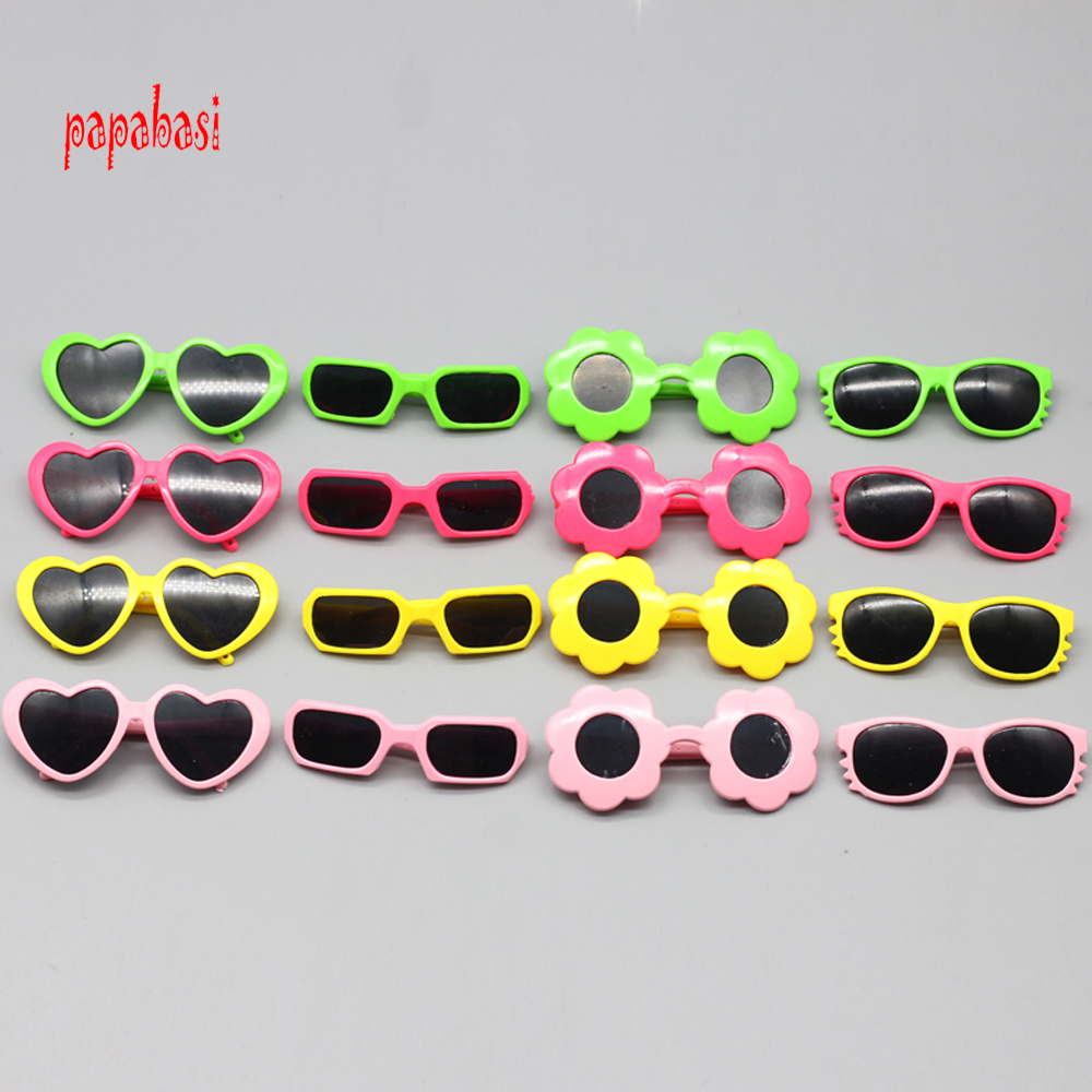1pcs plastic heart flower sunglasses for BJD blyth dolls as for 43cm Baby Born Zapf 18 Inch Dolls Accessories mini glasses toy