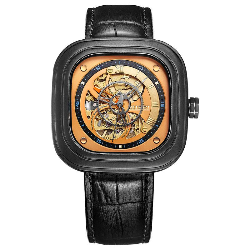 BUREI 15008 geneva watch Switzerland brand MIYOTA Men's Stainless Steel Automatic Skeleton Watch Gold Dial Black Leather Strap