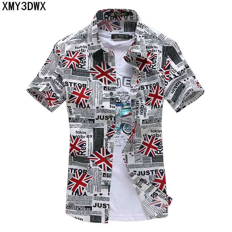 NEW 2017 Summer Hot Sale Plus Size 3XL Car or UK Flag Printed Mens Fashion Short Sleeve Shirts High Quality Slim Fit Shirts