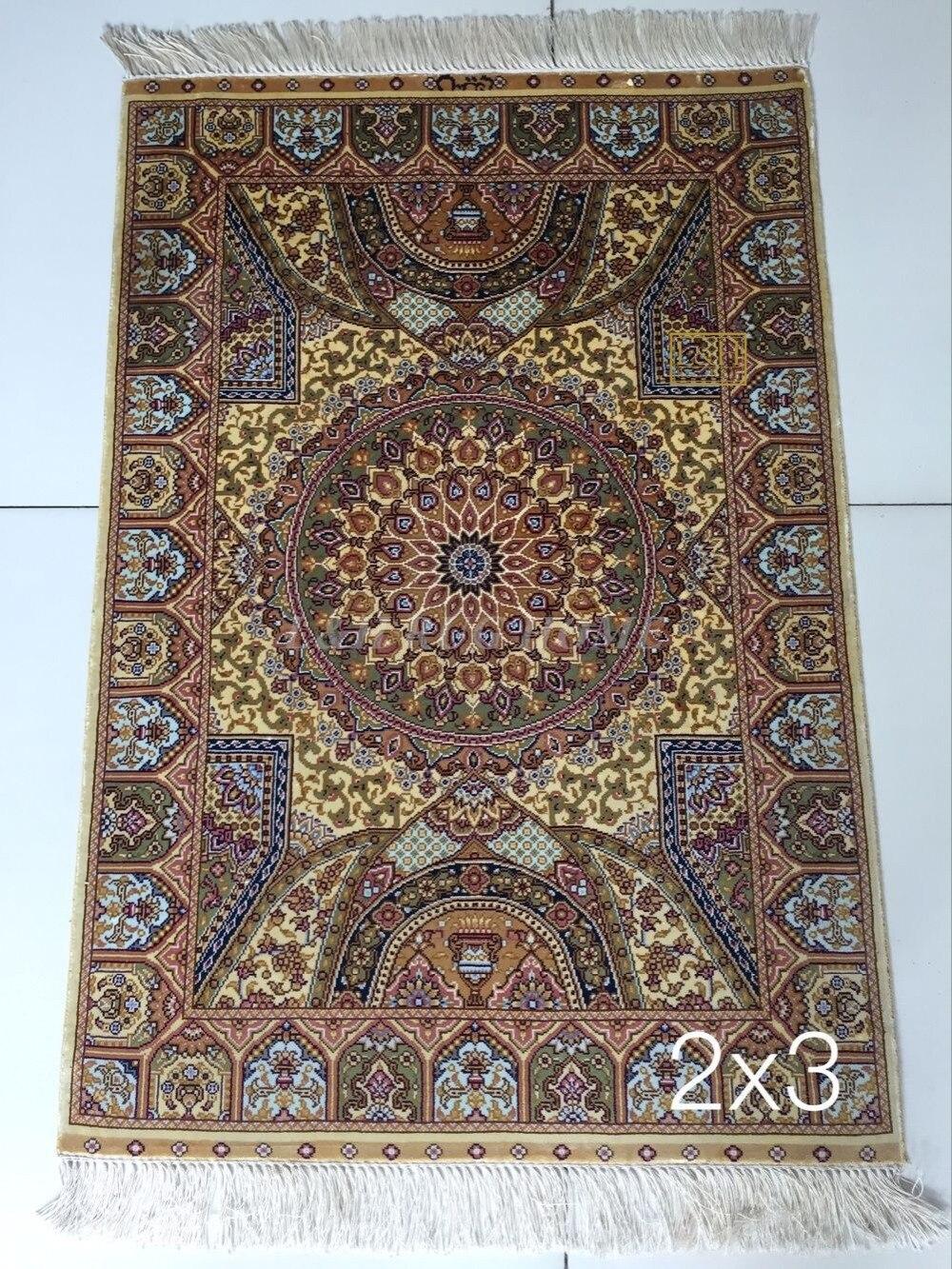 Бесплатная доставка 2'x3 230 линии ручной работы Шелковый Восточный персидских Ковры ручной ковер из шелка для украшения дома
