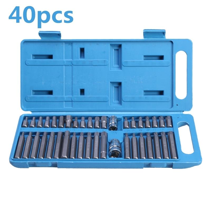 40Pcs Torx Hex Star Spline Socket Bit Set 1/2 3/8 Drive Power Tool Bits Garage