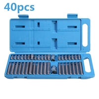 40Pcs Torx Hex Star Spline Socket Bit Set 1/2 3/8 Drive Power Tool Bits Garage