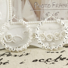 Серьги-кольца из стерлингового серебра 925 пробы для женщин, большие роскошные дизайнерские винтажные Свадебные ювелирные изделия хорошего качества Eh004