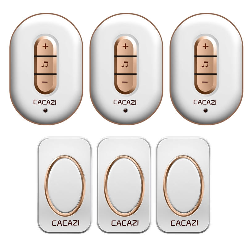 CACAZI Wireless Doorbell Waterproof 280M Remote AC 110-220V 3 buttons+3 receivers smart Door Bell 48 Chimes 6 volume door ring cacazi ac 110 220v eu us uk plug wireless doorbell 1 waterproof button 3 receivers 300m remote door bell 38 chimes door ring