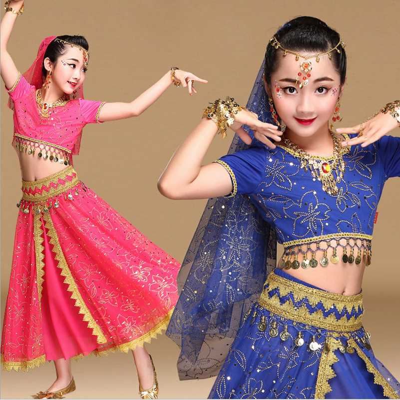 2018 <font><b>Sari</b></font> Dancewear Children Belly Dance Costume Set <font><b>Indian</b></font> Dance Costumes Bollywood <font><b>Kids</b></font> Dresses 4pcs (Top Belt Skirt Veil) image
